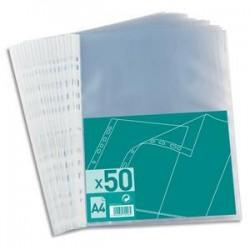 NEUTRE Sachet de 50 pochettes perforées en polypro grainé 6/100. Format A4, 11 trous.