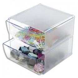 DEFLECTO Système modulable Cube 2 tiroirs en polystyrène - Dim. : L15,2 x H15,2 x P18,2 cm transparent
