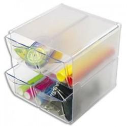 DEFLECTO Système modulable Cube 4 tiroirs en polystyrène - Dim. : L15,2 x H15,2 x P18,2 cm transparent
