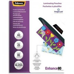 FELLOWES Paquet de 25 pochettes de plastification A3 80 microns 53964