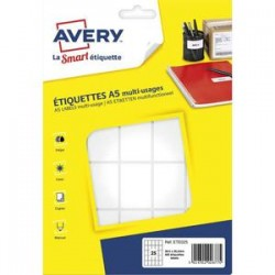 AVERY Sachet de 400 étiquettes multi-usage blanches 38,5 x 26,5 mm. Planche format A5. ETE025