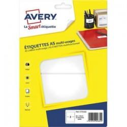 AVERY Sachet de 32 étiquettes multi-usage blanches 80 x 140 mm. Planche format A5. ETE002