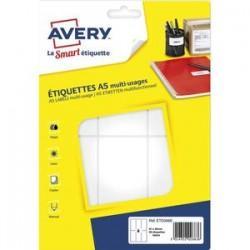 AVERY Sachet de 96 étiquettes multi-usage blanches 97 x 46 mm. Planche format A5. ETE006B