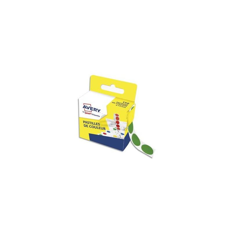 AVERY Boîte distributrice de 150 pastilles adhésives Ø15 mm. Coloris vert.