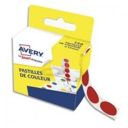 AVERY Boîte distributrice de 150 pastilles adhésives Ø15 mm. Coloris rouge.