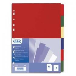 ELBA Jeu de 12 intercalaires polypro 3/10e format A4+ opaque coloré
