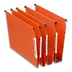 ESSELTE Boîte de 25 dossiers suspendus DUAL ARMOIRE en kraft 240g. Fond 50, volet agrafage. Orange