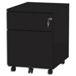VINCO Caisson mobile 2 tiroirs dont 1 pour dossiers suspendus L41,7 x H56,5 x P54,1 cm noir