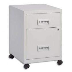 PIERRE HENRY Caisson Combi mobile 2 tiroirs dont 1 pour dossiers suspendus L40 x H56 x P40 cm gris