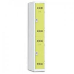 VINCO Vestiaire 2 Cases + 1 Colonne - Dimensions : L30 x H180 x P50 cm gris perle anis