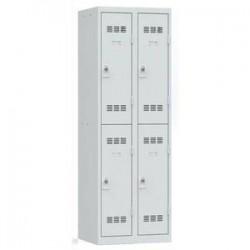 VINCO Vestiaire 2 Cases + 2 Colonnes - Dimensions : L60 x H180 x P50 cm gris perle