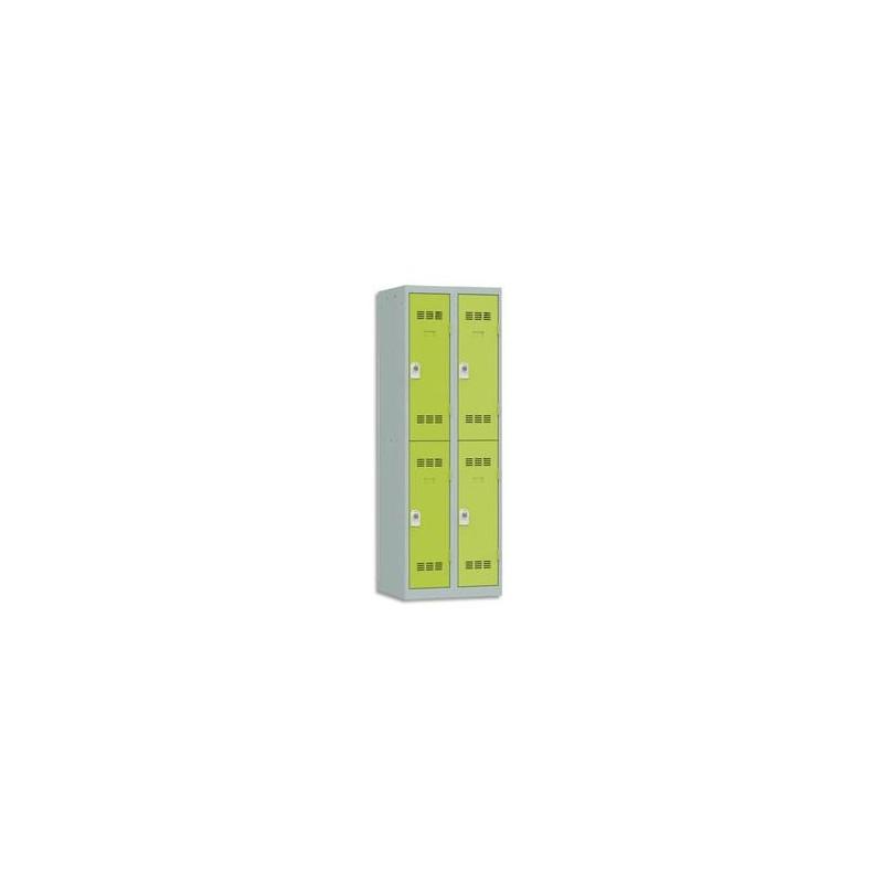 VINCO Vestiaire 2 Cases + 2 Colonnes - Dimensions : L60 x H180 x P50 cm gris perle anis