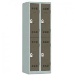 VINCO Vestiaire 2 Cases + 2 Colonnes - Dimensions : L60 x H180 x P50 cm gris perle basalte