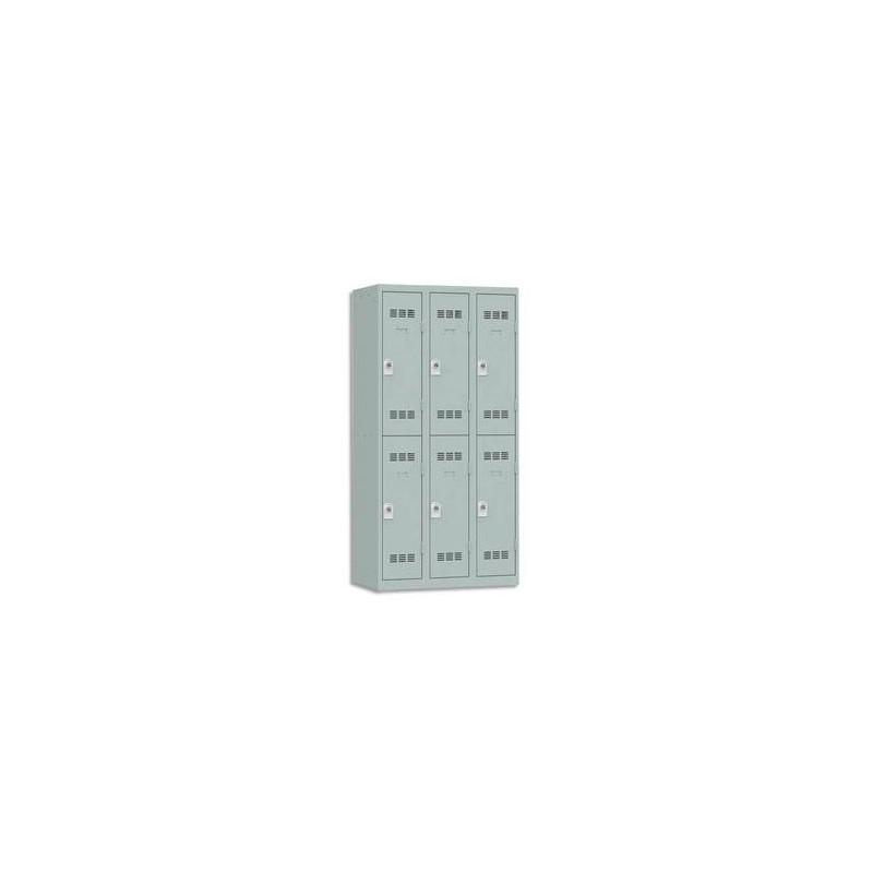 VINCO Vestiaire 2 Cases + 3 Colonnes - Dimensions : L90 x H180 x P50 cm gris perle