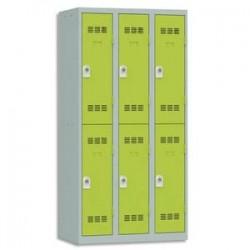 VINCO Vestiaire 2 Cases + 3 Colonnes - Dimensions : L90 x H180 x P50 cm gris perle anis