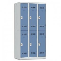 VINCO Vestiaire 2 Cases + 3 Colonnes - Dimensions : L90 x H180 x P50 cm gris perle bleu