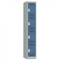 VINCO Vestiaire 4 Cases + 1 Colonne - Dimensions : L30 x H180 x P50 cm gris perle bleu