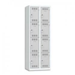 VINCO Vestiaire 4 Cases + 2 Colonnes - Dimensions : L60 x H180 x P50 cm gris perle