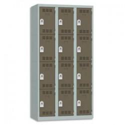 VINCO Vestiaire 4 Cases + 3 Colonnes - Dimensions : L90 x H180 x P50 cm gris perle basalte