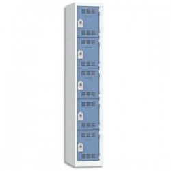 VINCO Vestiaire 5 Cases + 1 Colonne - Dimensions : L30 x H180 x P50 cm gris perle bleu