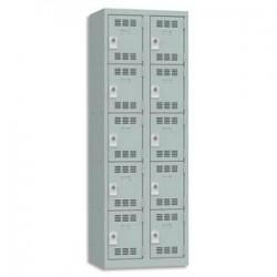 VINCO Vestiaire 5 Cases + 2 Colonnes - Dimensions : L60 x H180 x P50 cm gris perle