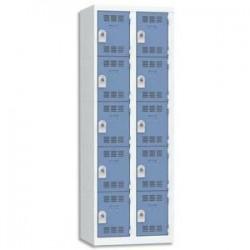 VINCO Vestiaire 5 Cases + 2 Colonnes - Dimensions : L60 x H180 x P50 cm gris perle bleu
