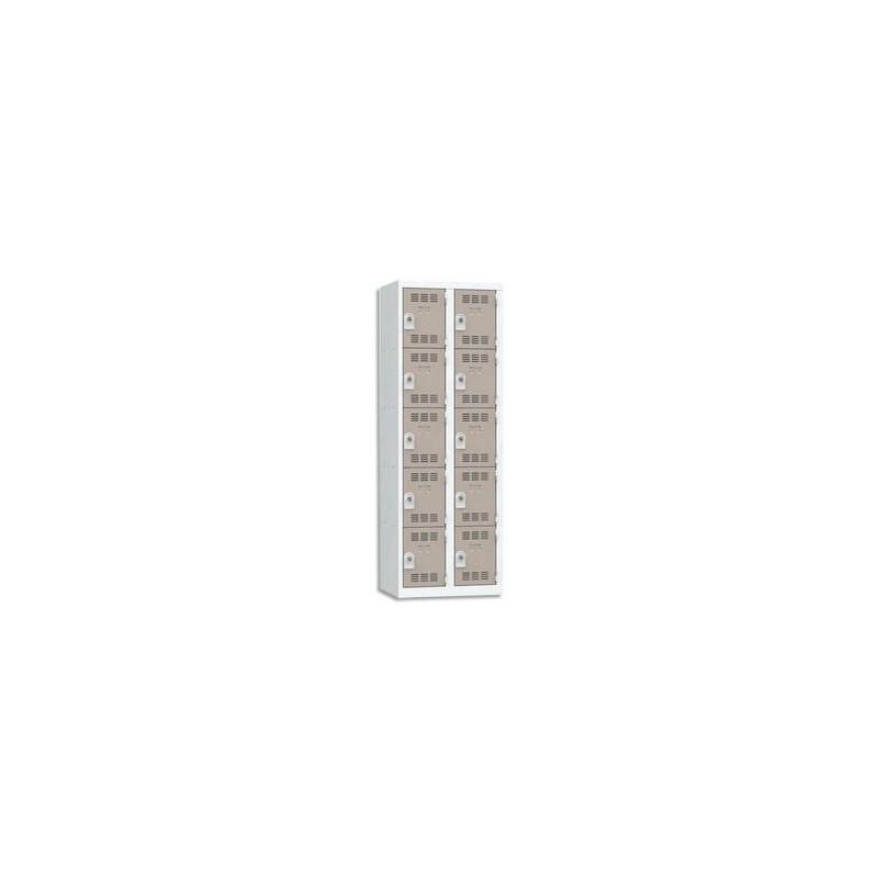 VINCO Vestiaire 5 Cases + 2 Colonnes - Dimensions : L60 x H180 x P50 cm gris perle basalte
