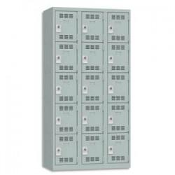 VINCO Vestiaire 5 Cases + 3 Colonnes - Dimensions : L90 x H180 x P50 cm gris perle