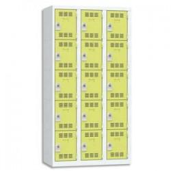 VINCO Vestiaire 5 Cases + 3 Colonnes - Dimensions : L90 x H180 x P50 cm gris perle anis