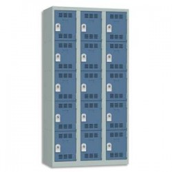 VINCO Vestiaire 5 Cases + 3 Colonnes - Dimensions : L90 x H180 x P50 cm gris perle bleu