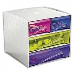 CEP Bloc de rangement 3 tiroirs, 4 compartiments. Dim: L18,6 x P18,5 x H17,5 cm. Coloris Blanc/Assortis
