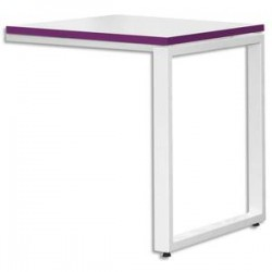 MT INTERNATIONAL Retour bureau MT1 élégance blanc chant prune piétement - Dimensions L80 x H75 x P60 cm
