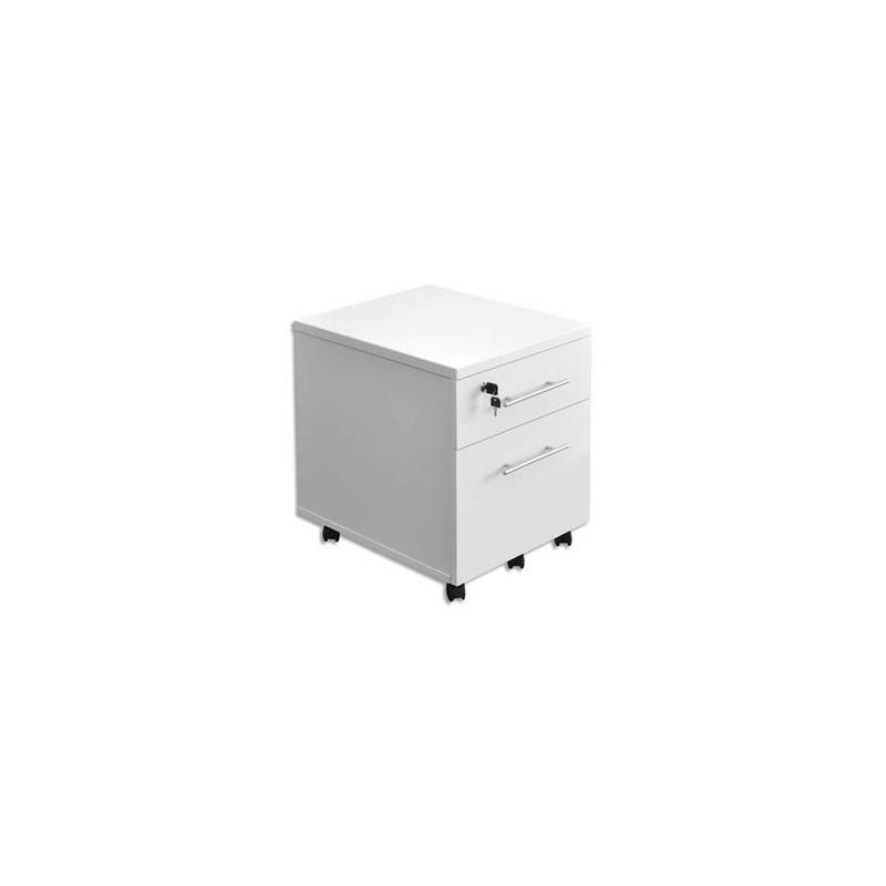 MT INTERNATIONAL Caisson mobile 2 tiroirs MT1 élégance coloris blanc - Dimensions : L42 x H54 x P50 cm