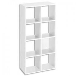 MT INTERNATIONAL Bibliothèque multi-cases 8 cases MT1 élégance coloris blanc - Dim : L73xH142,5xP33 cm