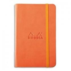 RHODIA Carnet RHODIArama 9x14cm 192 pages lignées. Couverture rembordée orange