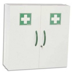 ROSSIGNOL Armoire à pharmacie blanche 2 portes fermeture magnétique et serrure à clé L52 x H54 x P20 cm