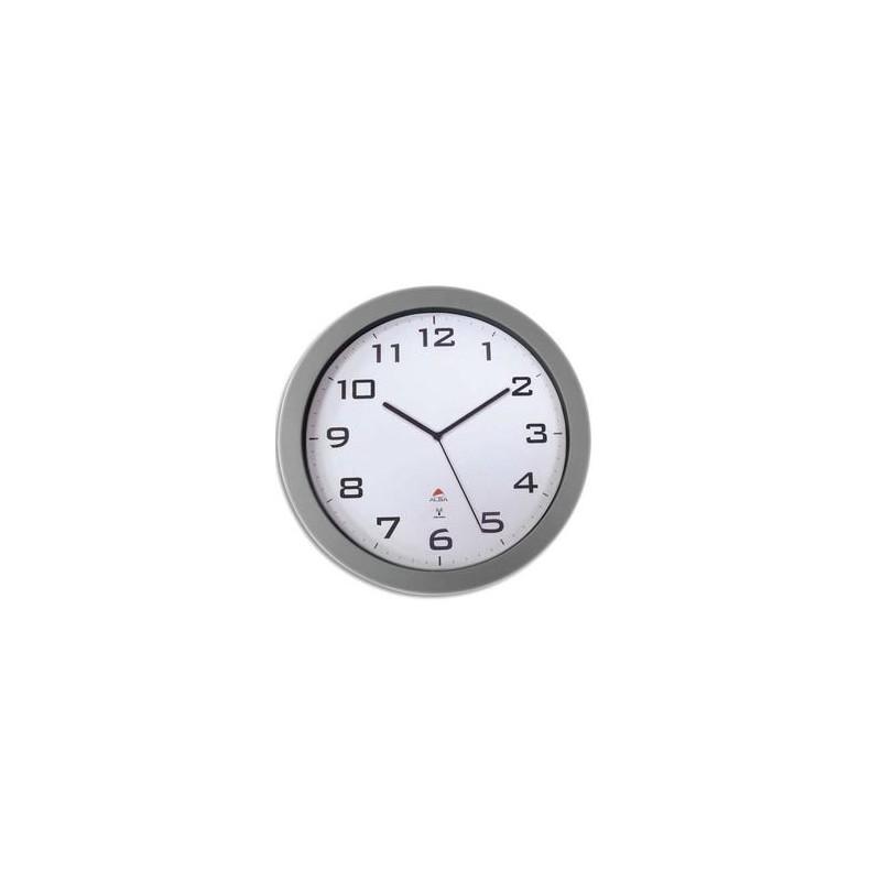 ALBA Horloge murale mécanisme radio-pilotée contour ABS gris D38 cm, Chiffre noir sur fond blanc