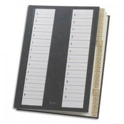 EXTENDOS Trieur alphabétique 24 compartiments noir, couverture rigide plastifiée, dos extensible