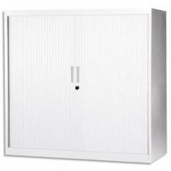 MT INTERNATIONAL Armoire basse monobloc Corps et Rideau blanc - Dimensions : L100 x H105 x P43 cm