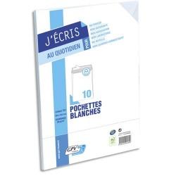 GPV Paquet de 10 pochettes velin blanc fond gris auto-adhésives 90g format C4 229 x 324 mm