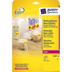 AVERY Boite de 20 etiquettes laser rectangulaires enlevables 21x29,7cm coloris jaune fluo L6006-20