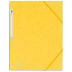 ELBA Chemise 3 rabats et élastique Eurofolio , en carte lustrée 5/10e jaune