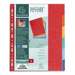 EXACOMPTA Jeu d'intercalaires 6 positions format 24x30cm pour pochettes perforées. Carte lustrée 3/10e.