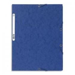 EXACOMPTA Chemise 3 rabats et élastique , en carte lustrée 5/10e, 400gr. Format 24x32cm. Coloris bleu.