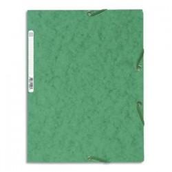EXACOMPTA Chemise 3 rabats/ élastique , carte lustrée 5/10e, 400gr. Format 24x32cm. Coloris vert.