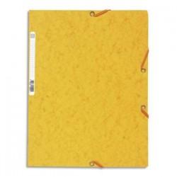 EXACOMPTA Chemise 3 rabats et élastique , en carte lustrée 5/10e, 400gr. Format 24x32cm. Coloris jaune.