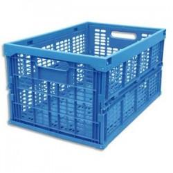 VISO Bac de rangement pliant 45L en polypropylène bleu L35,5xH27xP52,5cm