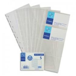 VIQUEL Lot de 5 Recharges de pochettes pour porte-cartes de visite Géode - Dim. L11,2 x H25,3 cm incolore