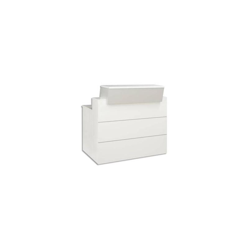 GAUTIER Banque d'accueil L120 cm Sunday - Dimensions L120 x H110/74 x P83 cm coloris gris
