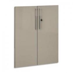 GAUTIER Option 2 portes pleines pour rangement 6 cases Vermont - Dim. L80 x H101 x P2 cm vernis taupe